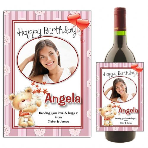 Personalised Teddy Bear Happy Birthday Wine / Champagne Bottle PHOTO Label N44